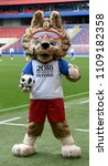 Small photo of Moscow, Russia - June 9, 2018. Zabivaka, the 2018 FIFA World Cup Official Mascot, on a stadium in Moscow.
