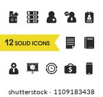 trade icons set with sheet ...