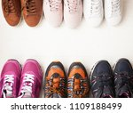 shoes on the wooden shelf in... | Shutterstock . vector #1109188499