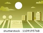 beautiful city park horizontal... | Shutterstock .eps vector #1109195768