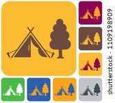 stylized icon of tourist tent.... | Shutterstock .eps vector #1109198909