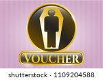 gold emblem with dead man in... | Shutterstock .eps vector #1109204588