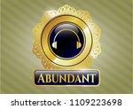 gold badge with headphones...   Shutterstock .eps vector #1109223698