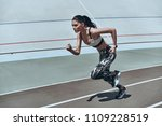 go  full length of young woman...   Shutterstock . vector #1109228519