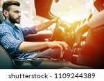 man test drive a sport car in... | Shutterstock . vector #1109244389