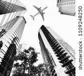 airplane flying over atlanta ... | Shutterstock . vector #1109248250