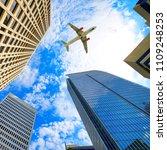 airplane flying over atlanta ... | Shutterstock . vector #1109248253