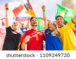 happy supporters from different ... | Shutterstock . vector #1109249720