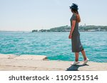 a young beautiful girl in a hat ...   Shutterstock . vector #1109251514