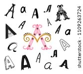 set of letter a in different... | Shutterstock .eps vector #1109263724