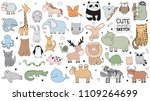vector cartoon big set of cute... | Shutterstock .eps vector #1109264699