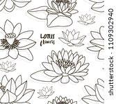 set of lotus flowers pattern....   Shutterstock .eps vector #1109302940