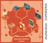 online cinema color isometric...   Shutterstock .eps vector #1109302943
