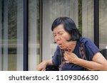 elderly woman cough  choke | Shutterstock . vector #1109306630