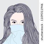 doodle beautiful woman drawing... | Shutterstock .eps vector #1109311946