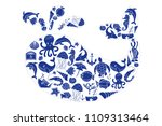aquatic doodles cartoon sea... | Shutterstock .eps vector #1109313464