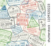travel visa airport stamps... | Shutterstock .eps vector #1109320223