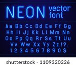 bright glowing blue neon... | Shutterstock .eps vector #1109320226