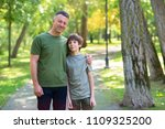 portrait of father with his son ... | Shutterstock . vector #1109325200