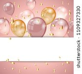 birthday background with rose... | Shutterstock .eps vector #1109327330