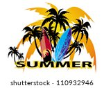 summer background with surfboard | Shutterstock .eps vector #110932946