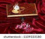 a handmade mahogany casket with ...   Shutterstock . vector #1109333180