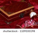 a handmade mahogany casket with ...   Shutterstock . vector #1109333198