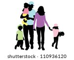 family silhouettes | Shutterstock .eps vector #110936120