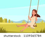 happy girl plays on the swing... | Shutterstock .eps vector #1109365784