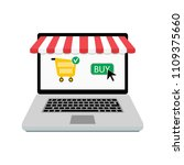 buy online store. laptop with... | Shutterstock .eps vector #1109375660