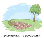 picnic basket graphic color...   Shutterstock .eps vector #1109379254