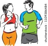 man and woman running jogging... | Shutterstock .eps vector #1109386484