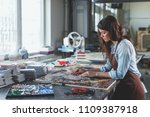 young woman with mosaic in... | Shutterstock . vector #1109387918