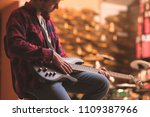 young musician playing bass... | Shutterstock . vector #1109387966