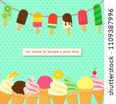 ice cream on rope and border in ... | Shutterstock .eps vector #1109387996