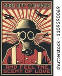 vector poster gas mask world... | Shutterstock .eps vector #1109390069