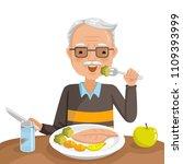 elderly man eating. he is... | Shutterstock .eps vector #1109393999