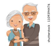 elderly couple smiling. old... | Shutterstock .eps vector #1109394476