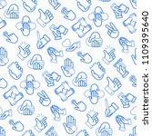 hands gestures seamless pattern ... | Shutterstock .eps vector #1109395640