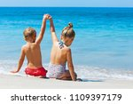 happy kids have fun in sea surf ... | Shutterstock . vector #1109397179
