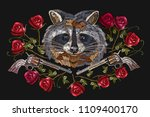 embroidery raccoon  crossed... | Shutterstock .eps vector #1109400170