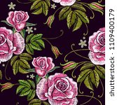 embroidery spring roses... | Shutterstock .eps vector #1109400179