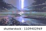 night scenery of water road... | Shutterstock . vector #1109402969
