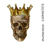 embroidery golden crown and... | Shutterstock .eps vector #1109407373