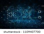 futuristic retro background of... | Shutterstock . vector #1109407700
