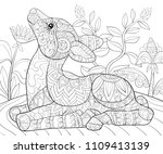 adult coloring book page a cute ... | Shutterstock .eps vector #1109413139
