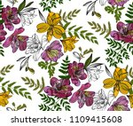 Stock vector floral seamless pattern with tropical flowers and leaves botanical illustration hand drawn 1109415608
