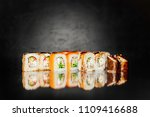 top view of japanese sushi.... | Shutterstock . vector #1109416688