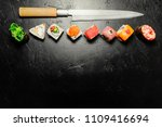 different sushi with japanese... | Shutterstock . vector #1109416694
