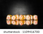 sushi roll with warm salmon... | Shutterstock . vector #1109416700